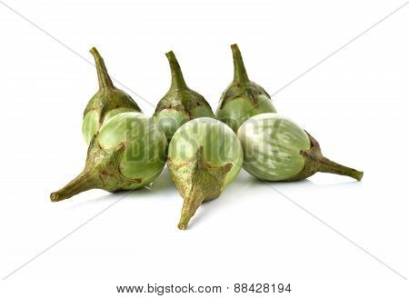 Eggplant With Stem On White Background