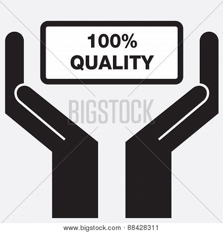 Hand showing 100 percent quality sign icon.