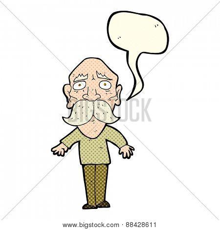 cartoon sad old man with speech bubble