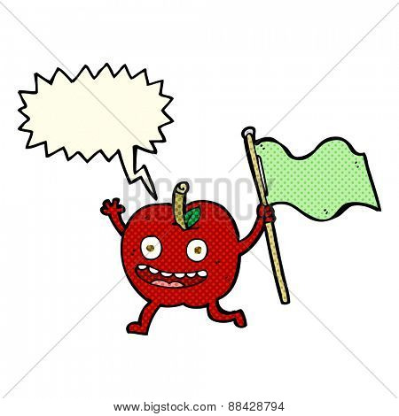 cartoon apple with flag with speech bubble