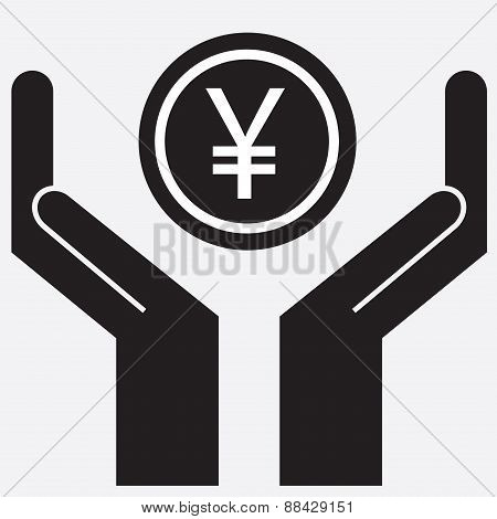 Hand showing yen and yuan sign.