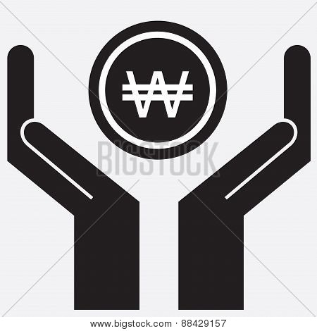Hand showing won sign. Vector illustration.