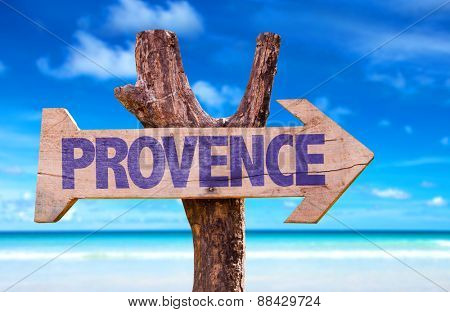 Provence wooden sign with beach background