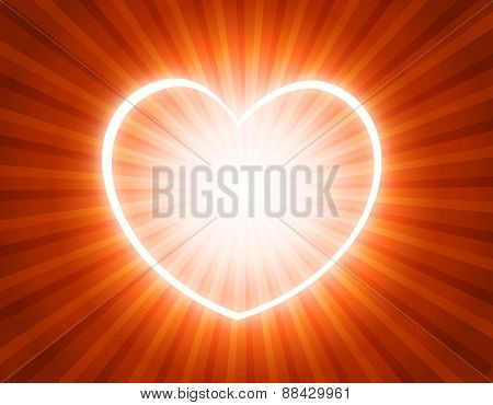Starburst background with bright glowing heart