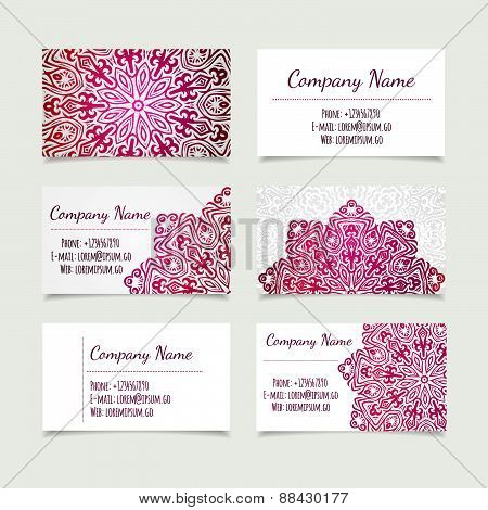 Set Of Retro Business Card Templates With Mandala
