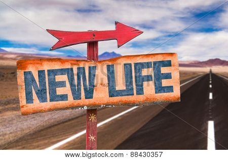 New Life sign with road background