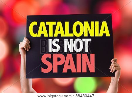 Catalonia Is Not Spain card with bokeh background