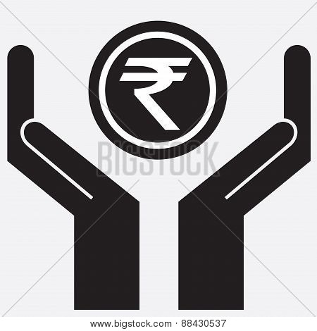 Hand showing rupee sign.