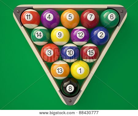 Billiard balls in a triangle