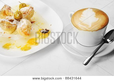 Cake  With  Syrup And Coffee