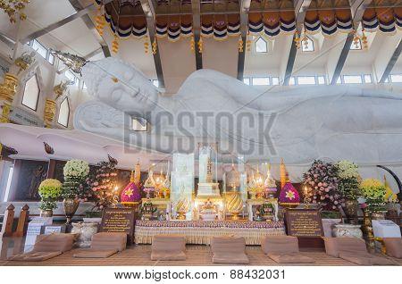 White Marble Nirvana Buddha In Thailand
