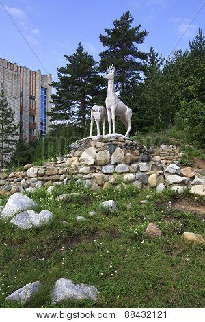 Sculpture of deer in the resort Belokuriha.