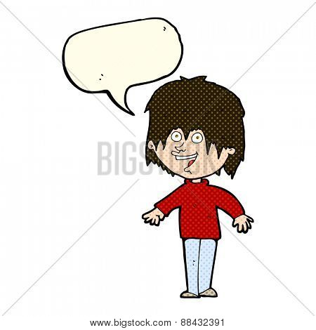 cartoon excited man with speech bubble