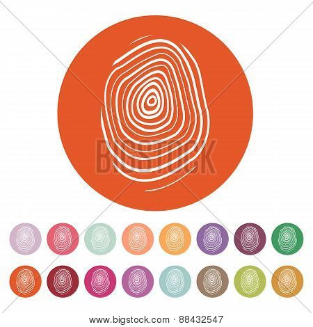 The Fingerprint Icon. Fingerprint Symbol . Flat