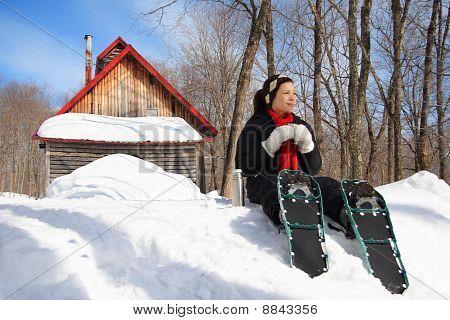 Raquetas de nieve en invierno