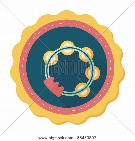 Tambourine Flat Icon With Long Shadow