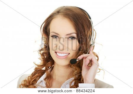 Smiling cheerful support phone operator in headset.