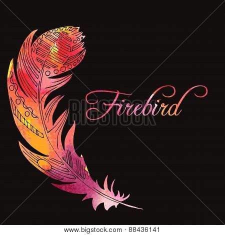 watercolor feather of firebird