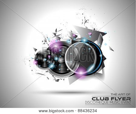 Modern Club Disco Flyer Art for Music Event backgrounds, posters, brochure, backgrounds, pages, covers, and so on.