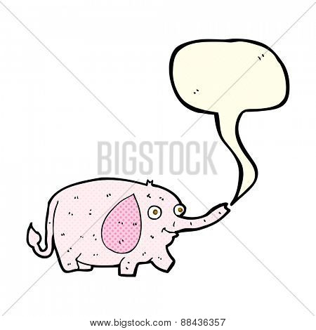 cartoon funny little elephant with speech bubble