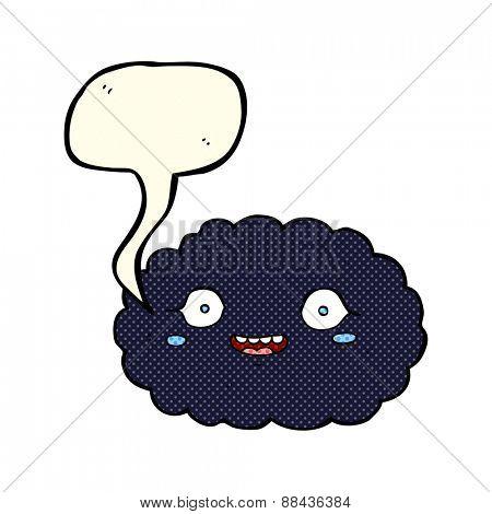 happy cartoon cloud with speech bubble
