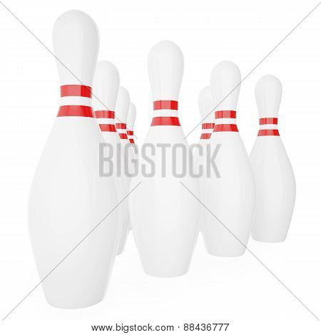 Bowling pins with red stripes isolated on white background.