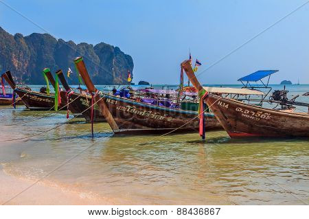 Longtail Boats In Ao Nang Beach Thailand