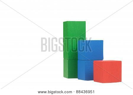 Business Concept Wooden Cubes Isolated.