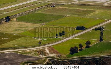 Aerial view of a rural landscape