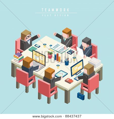 Teamwork Concept 3D Isometric Infographic