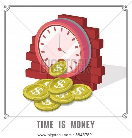 Time Is Money Concept 3D Isometric Infographic