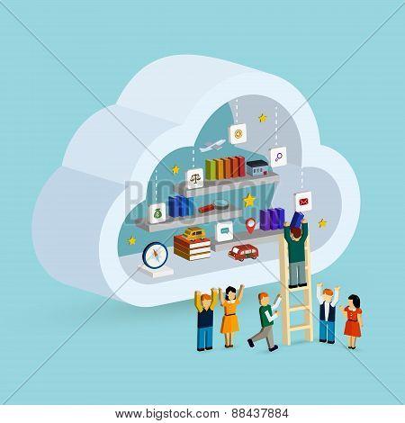 Cloud Service Concept 3D Isometric Infographic