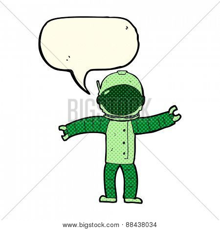 cartoon astronaut with speech bubble