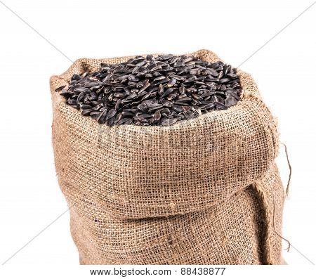 Black sunflower seeds in bag.