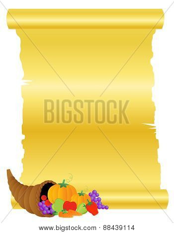 Thanksgiving Background With Fresh Fruits And Vegetables