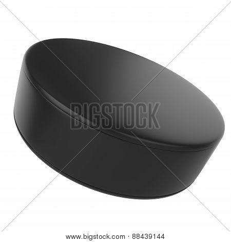 Hockey puck isolated on white background.
