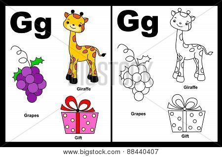 Kids Coloring Book Page Letter G