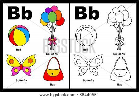 Kids Coloring Book Page Letter B