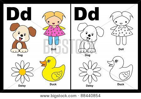 Kids Coloring Book Page Letter D