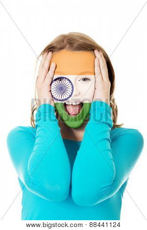 Woman with Indie flag painted on face.