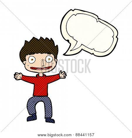 cartoon grinning boy with speech bubble