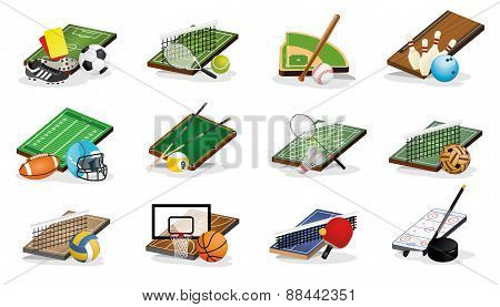 Sport Fileds, Arena, Balls and Equpments Vector Illustrations