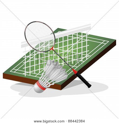 Badminton Field and Ball Vector Illustration