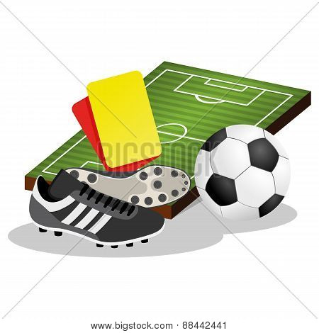 Soccer Field and Ball Vector Illustration