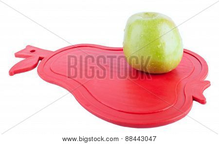 Green Apple On The Red Pear