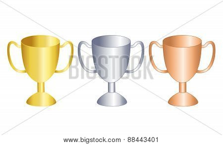 Gold , Silver And Bronze Trophies