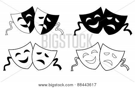 Theater Masks Silhouette