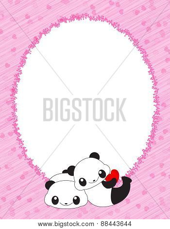 Pink Frame With Hearts And Pandas