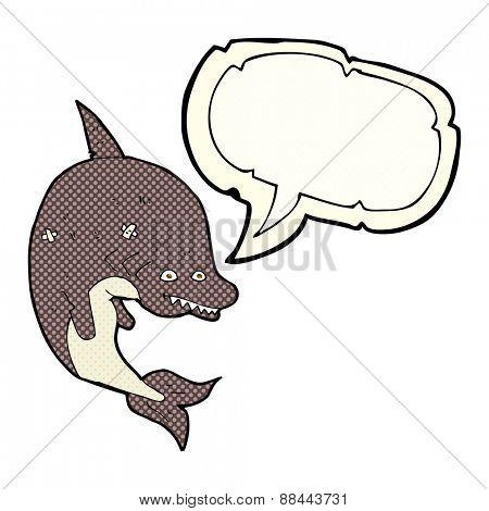 cartoon shark with speech bubble
