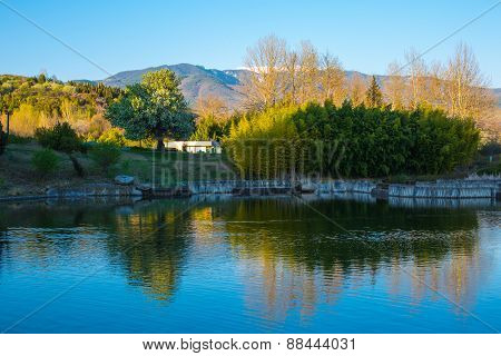 Beautiful Lake and mountains view in Sandanski, Bulgaria